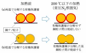 焼結特性比較 (a):既往の合成法で得た銅ナノ粒子、(b):水溶性銅錯体で得た銅ナノ粒子