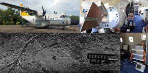開発した円偏波合成開口レーダ(CP-SAR)<br>(左上)試験観測に使用したCN235航空機、(上中)円偏波送受信用アレーアンテナ、(上右)機内の実験様子、(下左) インドネシアマカッサル市街の円偏波合成開口レーダ画像(下右)送受信機