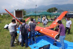 円偏波合成開口レーダ搭載の大型無人機の実験