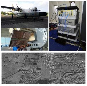 (左上)試験観測に使用したCN235航空機、(左中)円偏波送受信用アレーアンテナ、(右)送受信機、(下) インドネシアマカッサル市街の円偏波合成開口レーダ画像