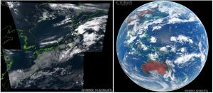 ひまわり8号動画のキャプチャ図 (左)日本付近の可視バンド、(右)全球の可視バンド