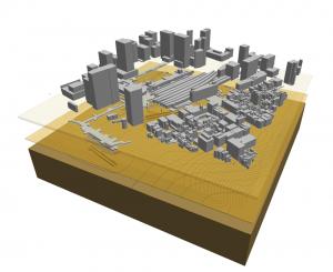本シミュレーションの対象となる、地盤・地上構造物・地下構造物の三次元モデル