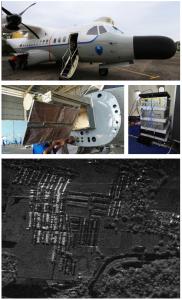 図1:(上)試験観測に使用したCN235機、  (中左)円偏波アンテナ、(中右)送受信機、  (下) インドネシアマカッサル市街の円偏波  合成開口レーダ画像
