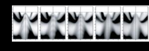 図2 角度分解光電子分光実験により得られたビスマス単結晶薄膜の電子のエネルギーと運動量の関係を示したグラフ。グラフの上の数字はビスマス薄膜の膜厚(nm:ナノメートル、百万分の1ミリ)を示す。膜厚を薄くするとグラフの中央に縞模様が明瞭に観測され、エネルギーが飛び飛びになっていることがわかる。