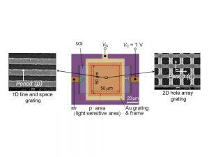図1 1次元ライン・アンド・スペース状金属格子(左)もしくは2次元ホール・アレー状金属格子(右)を付加した、SOI(絶縁膜上のシリコン)フォトダイオードの構造。