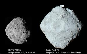 小惑星リュウグウ(右)とベンヌ(左)