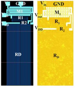 図2.450℃でも動作可能なSiCアンプ回路