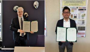 スウェーデン王立工科大学(Kungl. Tekniska högskolan, KTH Royal Institute of Technology, Stockholm, Sweden)との部局間協定を延長し、再締結の調印式を行いました。<br /> (左)スウェーデン王立工科大学で調印を行ったProf. Stefan Östlund(Vice President for global relations) 、(右)広島大学で調印を行った東清一郎 前所長