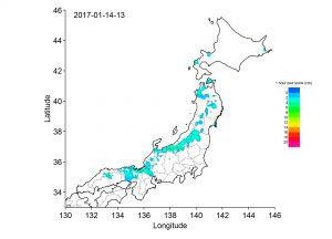 平成29年1月14日13~14時の1時間降雪量分布図