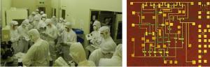 2018年8月20日~25日の6日間に渡り、CMOSトランジスタ・IC作製実習を行い、国内外より24名の学生、社会人が参加しました。右は完成したオペアンプの写真。