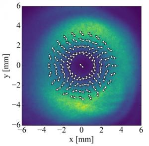 測定された光強度と偏光方向の分布