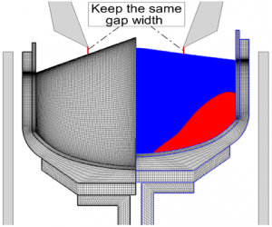 1<sup>st</sup> stage of Si melting & mesh deformation
