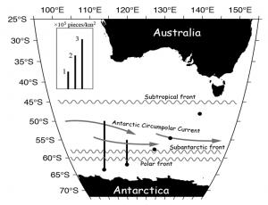 南極海での測点と濃度