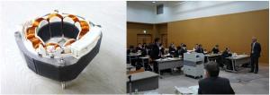 (左)新ナノ結晶合金NANOMET®を用いた家電用試作モータ (右)2016年3月24日開催「第46回ものづくり基礎講座」講義風景