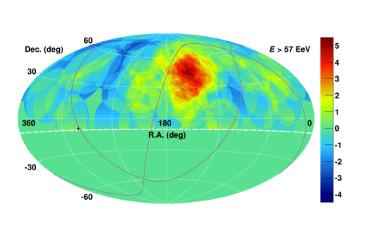 図1 テレスコープアレイ実験が捉えた最高エネルギー宇宙線が過剰に到来する方向(ホットスポット、赤色)のデータ。(東京大学宇宙線研究所TA グループ)