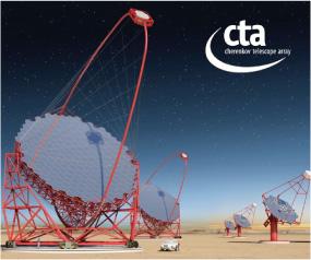 超高エネルギーガンマ線望遠鏡「チェレンコフ望遠鏡アレイ(CTA)」の完成予想図 (CTA Collaboration)