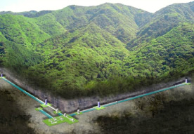 神岡池ノ山地下に建設中の大型低温重力波望遠鏡 KAGRA(かぐら)の概念図 ( 東京大学宇宙線研究所)