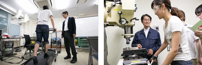 (左)現在開発中のパワーアシスト装置の出来栄えを生徒と確認する川嶋教授。この装置も空気の圧力を使って動きを制御する。(右)医学部の4年生(写真手前の女性)に、フライス盤の使い方を教える川嶋教授。医学系の大学に工学系の研究室の存在は珍しく、外科志望の学生が関連領域として研究室に学びにやってくる。