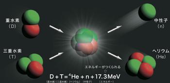 核融合反応は、重水素と三重水素からヘリウムと中性子ができる反応。そのときに失われる質量が、莫大なエネルギーとなって放出される。