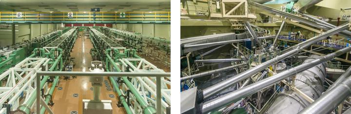 大阪大学レーザーエネルギー学研究センターのレーザーシステム。左の写真で、大きく4つに分かれているレーザーの左端が加熱用のLFEX、残りの3つが圧縮用の激光XII号。一つのまとまりごとに4本ずつレーザーが走る(すなわちLFEXは計4本、激光XII号は計12本)。レーザーは左図の写真奥から正面に向かって照射され、別室(右写真)にあるターゲットチャンバーに向かう。レーザーが照射されるのは100億分の1秒程度の一瞬。2時間に一度照射できる。