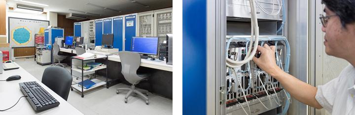 (左)信楽MU観測所内に設けられた「主観測室」。ここで「MUレーダー」の制御を行う。 (右)アンテナをきめ細かく制御するシステム。「アクティブ・フェーズド・アレーシステム」の心臓部である。