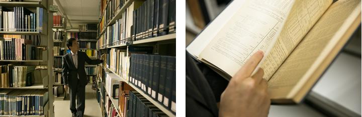 一橋大学経済研究所が誇る「統計資料棟」の一室にて。古くからの国内外の統計資料が棚一面に並ぶ。