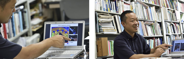 自身の研究内容について語る甲山准教授。日本とインドネシアを、研究室とフィールドを行き来し、インドネシアが抱える大規模火災の問題解決を目指す。