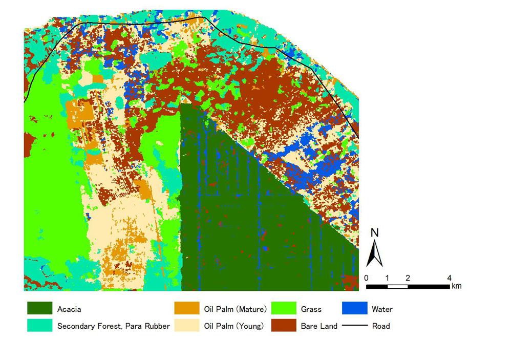 濃い緑色のエリアが、開発によって開かれたアカシア農園。これを取り巻くように荒廃し乾燥してしまった泥炭地が広がっている。(画像提供:甲山准教授)
