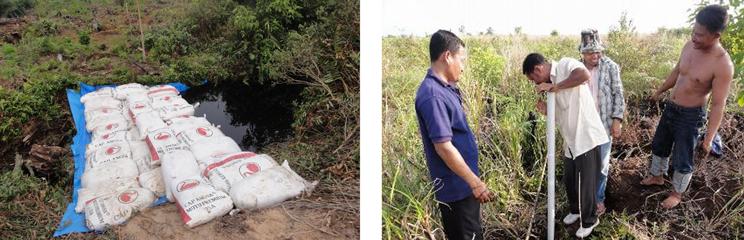 乾燥してしまった地域にある水路に、土嚢(どのうでダムを作り、周辺地域の水位の変化を確かめる。(写真提供:甲山准教授)