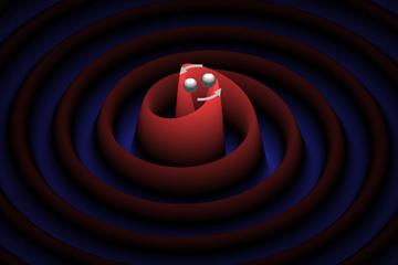 連星をなす二つの天体が互いに渦を巻くように回転しながら接近し、重力波が放出されるイメージ図。重力波は、赤い渦状の線で示すように、波紋のように広がっていく。(図:京都大学基礎物理学研究所 川口恭平氏作成)