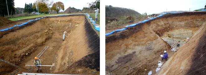 2008年の岩手・宮城内陸地震で活動した断層のトレンチ調査の様子。トレンチ壁面の観察、写真撮影、スケッチをおこなっている。ともに岩手県一ノ関市。(写真:遠田教授提供)