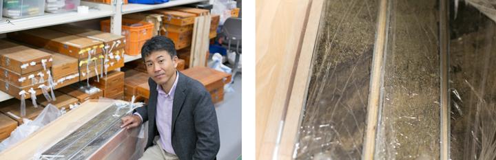 2014年の長野県北部の大地震(M6.7)の後に遠田教授は現地でトレンチ調査を行った。その際に同時に行ったボーリング調査(円筒状に深い穴を掘って行う調査)によって得られた地層の土。層の境目が見える(右写真)。中に含まれる炭素によってその地層の年代が調べられる(放射性炭素年代測定法)
