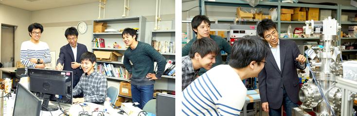 センター所属の大学院生たちと。写真下に写る機械は、学生たちがつくった実験装置。教授も学生も、物理の本質を探る思いに違いはない。