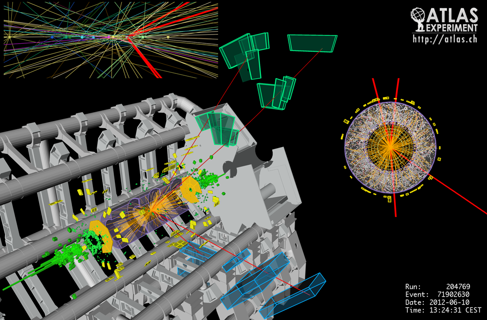 ヒッグス粒子から4つのミューオン(レプトン)に崩壊する事象を表した概念図。グレーの部分はATLAS検出器で、中心部から外部に向かって伸びる4本の線が、高エネルギーのミューオン。(図はCERN提供)
