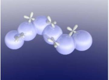 透明アモルファス酸化物半導体の基本構造。電子の流れるパスを大きな球状の軌道で構成すれば、球自体は規則正しく並んでいなくても電子はスムーズに流れるという発想で、絶縁体から半導体をつくり出した。
