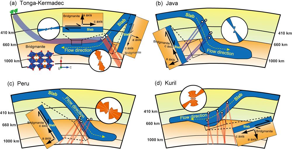 沈み込むスラブの模式図。山崎准教授と辻野研究員らは、4カ所の海溝においてマントルがスラブと平行して流れていることを示した。Nature掲載論文より。(使用許諾番号4151670043294)
