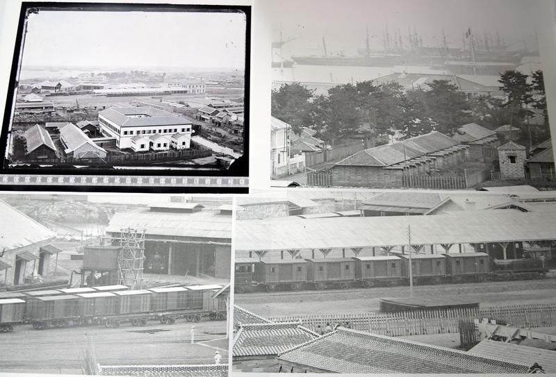 開業直後の横浜駅を撮影した古写真。ここに、新発見の鉄道車両が写り込んでいた。(画像は保谷教授提供)