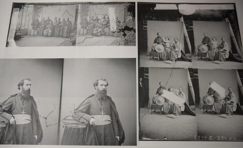 フランス・サンシール写真アーカイブスから見つかった、ナダール撮影の古写真の一部。ブルガーとモーザーのコレクション同様、ガラス原板ネガを高精細デジタルカメラで撮影し、反転加工して大きく引き伸ばした。左下がプティジャン司教の肖像写真。左上・右半分は幕府の遣欧使節の写真など。(画像は保谷教授提供)