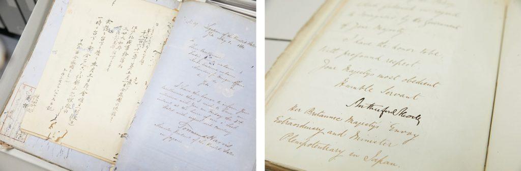 (写真左)幕末期の米国公使タウンゼント・ハリスから老中へ宛てた1861年5月1日の書翰(しょかん)原文とその訳文。東京大学史料編纂所所蔵「外務省引継書類」より。(写真右)英国公使オールコックの署名入り書翰(しょかん)原本。東京大学史料編纂所所蔵「外務省引継書類」より。