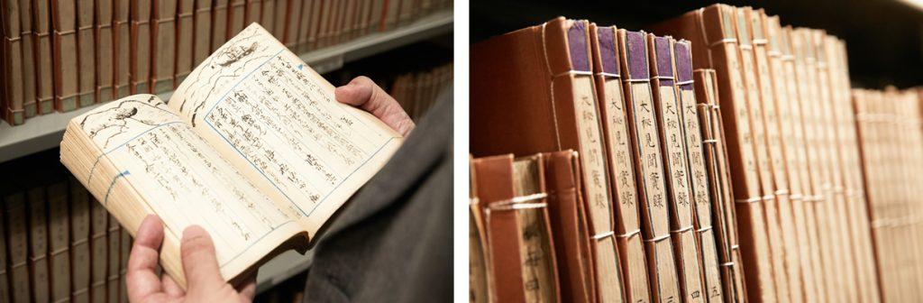 (写真左)1864年にヨーロッパへ派遣された幕府使節従者の航海記、東京大学史料編纂所所蔵「維新史料引継本」より。(写真右)維新史料編纂事業で収集された「維新史料引継本」2万点をはじめ、幕府外国奉行所の史料群である「外務省引継書類」3000点、明治初期の太政官史料である「復古記原史料」3万点など、史料編纂所には幕末維新関係の貴重な史料群が収蔵されている。