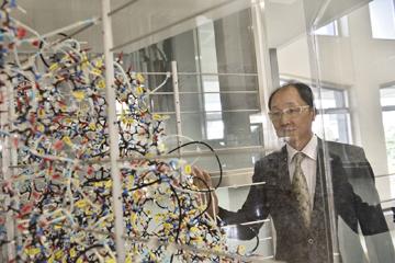 産業科学研究所の玄関を入ったところに展示されている巨大な分子構造模型。研究に疲れたときには、この複雑な構造を見るともなく眺めることが気分転換になる。