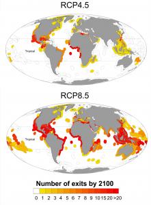 気候変動により2100年までに各国の経済水域から消失する魚種数の予測。IPCCによる中位安定シナリオ(上)と最大排出量に対応するシナリオ(下)の場合。