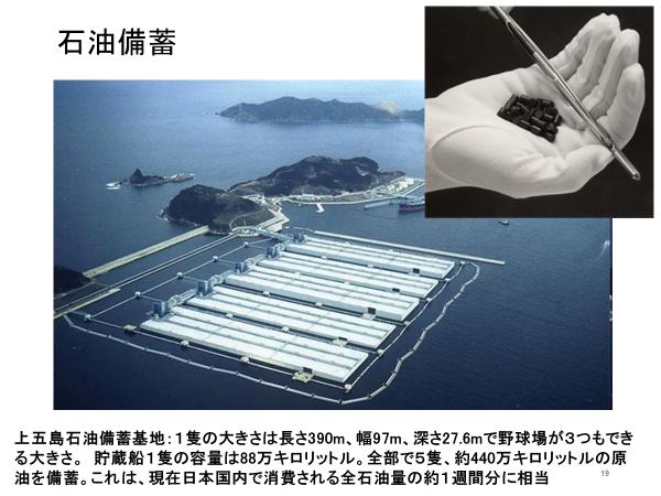 長崎県の五島列島にある上五島石油備蓄基地。ここで国内消費される石油の約1週間分が備蓄されている。手のひらに収まるウラン235は、それとほぼ同じエネルギーを生み出すことができる。(図版は千葉教授提供)