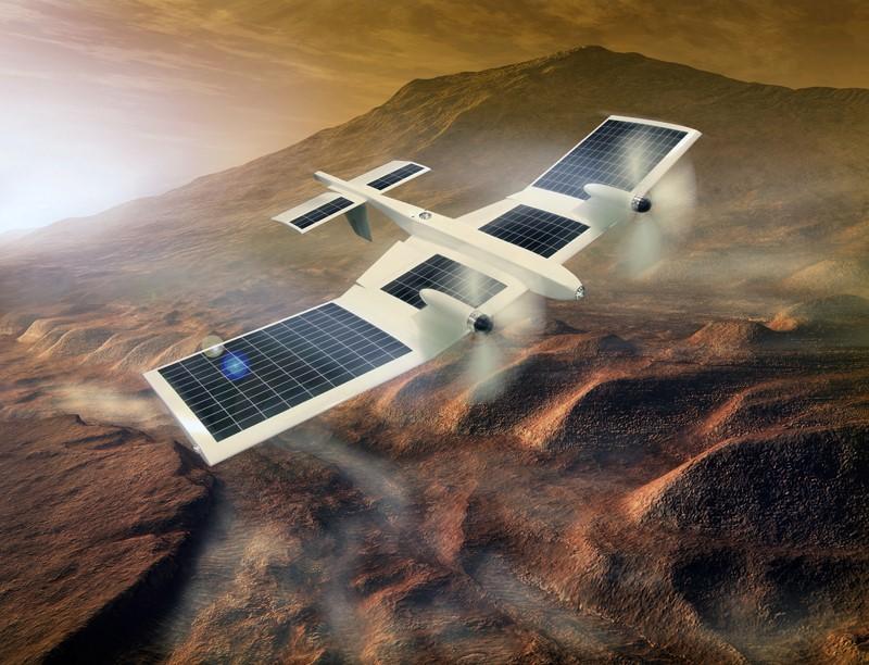 図1 火星探査航空機ワーキンググループで開発を進める火星飛行機の想像図。(図提供JAXA)