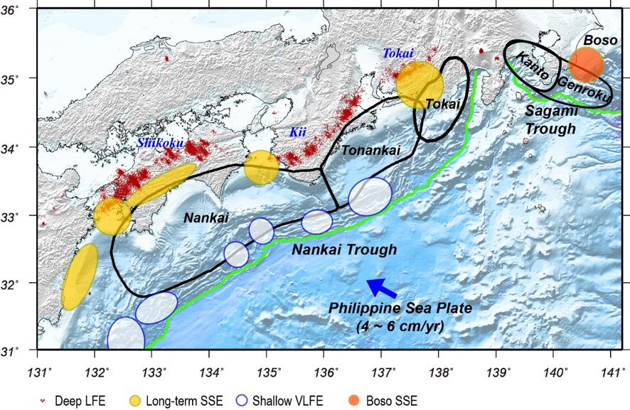 図3:南海トラフ沿いで観測されたスロー地震の分布(Obara and Kato (2016)を改変)。色を付けてある場所がスロー地震の発生領域を示す。巨大地震発生域の深部や浅部の一部でスロー地震が発生している。