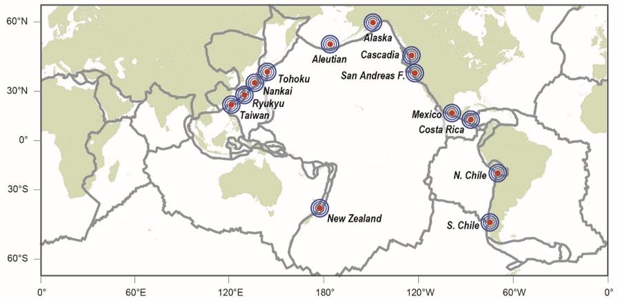 図4:スロー地震は日本だけでなく世界でも観測されている(Obara and Kato (2016)を改変)。発生場所は、巨大地震が起こるプレート境界域と重なっている。