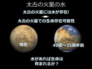 太古の火星には、水が存在していたことが確実視されている。今は、その水が生命を育みうるものであったかが議論されるようになっている。