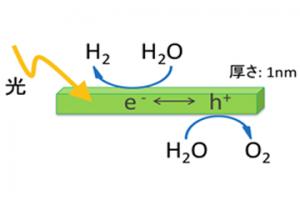 ナノシートを使えば、電子とホールの移動距離を1nm以下に抑えられる。それによって、半導体光触媒の変換効率を高めることができる。