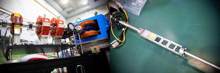 (左)銀色のパイプ(電子ビームライン)の中を加速された電子が通る。各部位が極めて高い精度で作られている。(右)陽子の標的をこの部分に置き、そこに電子を衝突させる。そして散乱した電子を散乱電子スペクトロメータで捕捉し測定する。