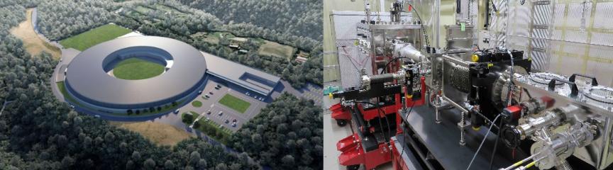 (左)次世代型高輝度放射光施設の完成予定図。周長は約350mになる。(財)光科学イノベーションセンター提供、(右)同施設に導入予定のX線タイコグラフィ装置。